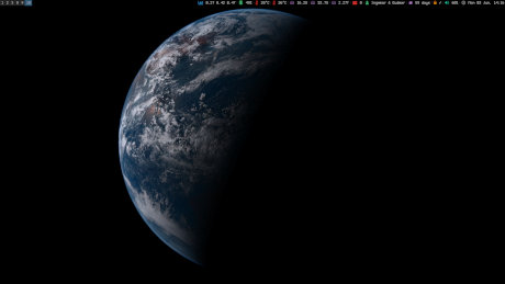 A screenshot of my desktop with a picture of the Earth as the wallpaper